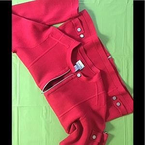 Red Military Zipper CHICO'S Sweater Size 1